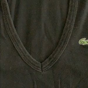 Lacoste Tops - Lacoste rib short sleeve hooded tee